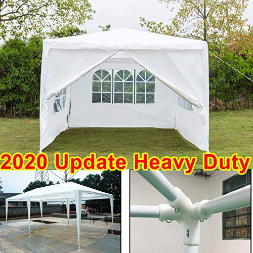 3 x 4 Metres Fully Waterproof Gazebo Tent Marquee Awning Beach Canopy with 4ps Side Panels and Powder Coated Steel Frame for Outdoor Wedding Garden Party BBQ Camping, White