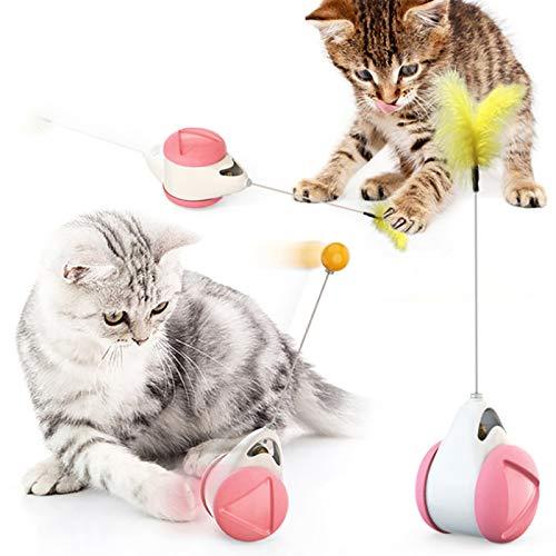 Giocattoli per Gatti, Giocattolo Bilanciato per Gatti con Palla, Giocattoli Interattivi per Gattini, Caccia Cat Toys con Catnip, per Addestrare Gattini con Piume di Gatto, Rose