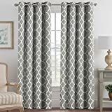 H.VERSAILTEX Blackout Curtains for Living Room/Bedroom Thermal Insulated Energy Saving Grommet Window Curtain Drapes (2 Panels) Geometric Moroccan Printed Draperies, Dove and White, 52 by 96 Inch