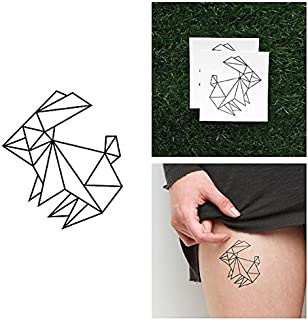 Tattify Origami Rabbit Temporary Tattoo - Hop to It (Set of 2) - Other Styles Available - Fashionable Temporary Tattoos - Tattoos are long lasting and Waterproof