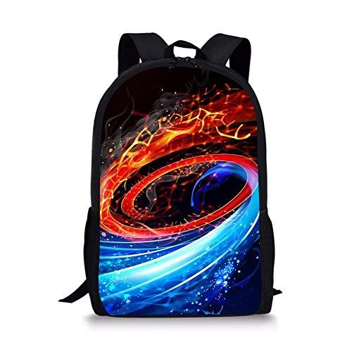 Laniom Schultasche 3D Whirlpool Rucksack Handtasche Mädchen Jungen Jugendlich Schulrucksack Schule Sport Wandern Reisen Lunchpaket Schwarz (44cm X 28cm X 13cm)