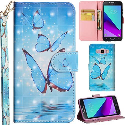 Ooboom Samsung Galaxy Grand Prime Hülle 3D Flip PU Leder Schutzhülle Handy Tasche Hülle Cover Ständer mit Trageschlaufe Magnetverschluss für Samsung Galaxy Grand Prime - Blau Schmetterling