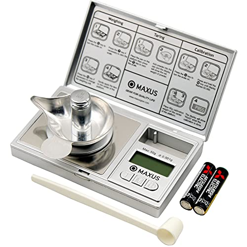 Milligram Scale with Metal Tray 50g x 0.001g, includes Calibration Weight and Powder Scoop MAXUS Silver Kit PRO Digital Jewelry Scale Mg Scale for Weighing Medicine Supplements Pills Reloading Capsule