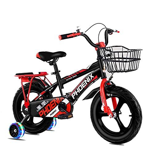 HUAQINEI 14-18 Pulgadas, Bicicleta para niños al Aire Libre, para niños y niñas de 3 a 13 años, con Ruedas auxiliares, Soporte, Rojo