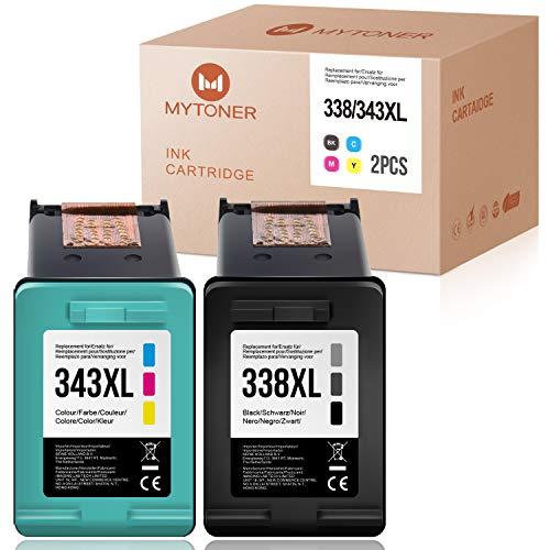 MYTONER Compatible para HP 338XL 343XL 338 XL 343 XL Cartuchos de Tinta para Photosmart C3180 2575 2610 2710 8750 8450 Officejet 100 150 6210 7310 7410 Deskjet 5740 6540 6620 9800 PSC 2355