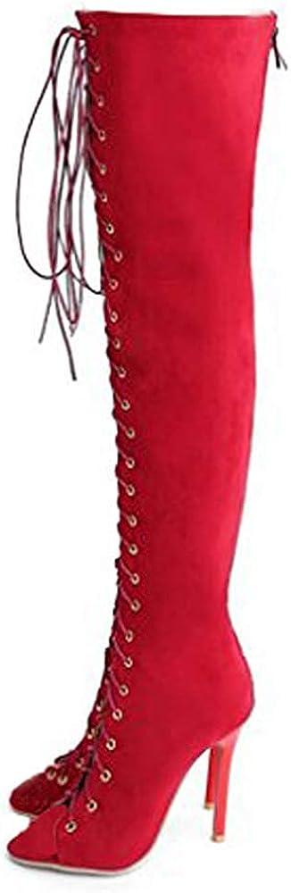 US4-12 Stiletto Womens Slim Pull On High Heel Platform Over The Knee Thigh Boots