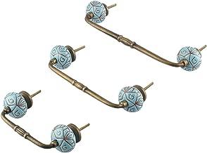 Indianshelf Handmade Ceramic Floral Etched Antique Door Handles Wardrobe Pulls (Turquoise/8 Inches)-1 Piece