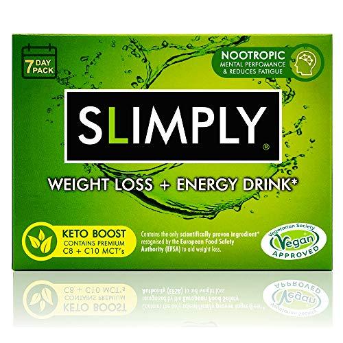SLIMPLY Weight Loss + Keto Energy Slimming Drink with Glucomannan Dietary Fibre, Premium C8 + C10 MCTs Promotes Fat Loss, Vitamins B1-3, B5, B9, B12, Zinc – Caffeine Free, Sugar Free, Vegan