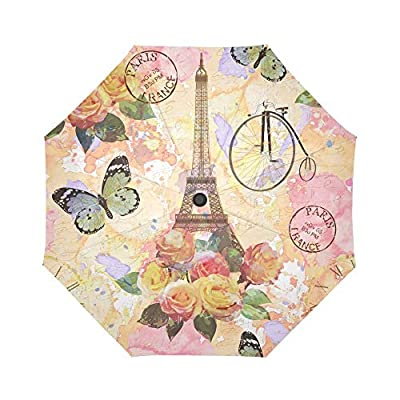 InterestPrint Vintage Paris Eiffel Tower Windproof Auto Open and Close Foldable Umbrella, Antique Bicycle Flowers Butterflies Lightweight Portable Outdoor Sun Umbrella with UV Protection