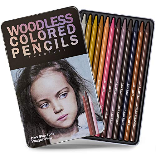 Bailive Colored Pencil Woodless Dark Skin Tone Colored Pencils Portraits Set 7.25 mm Soft Core Premier Colored Pencils for Adults and Kids Drawing Shading Gradation Line Artist Pencils 12-Count