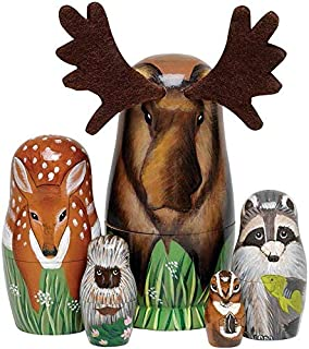 Ugly Doll - Woody and Friends American Woodland Creatures Nesting Dolls - Hand Painted Wooden Nesting Dolls Animal Figurines - Set of 5 Dolls
