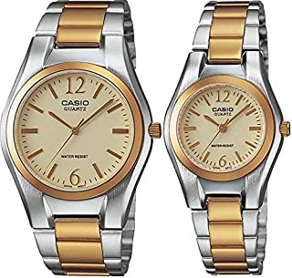 Casio His & Hers Gold Dial Two Tone Stainless Steel Band Couple Watch - MTP/LTP-1253SG-9 For Women, Analog