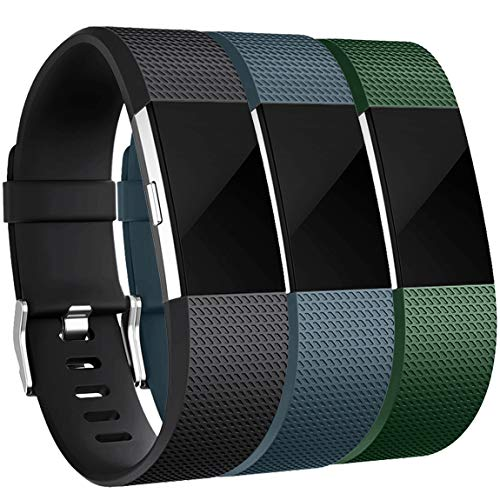 Maledan Bands Replacement Compatible with Fitbit Charge 2, 3 Pack, Black/Slate Blue/Green, Large