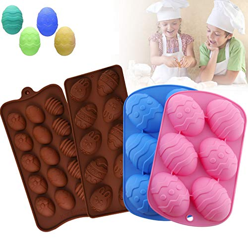 Easter Silicone Egg Mold Chocolate Molds with Bunny Egg Shape Egg Shape Baking Mold for Cake Decorating, Chocolate, Candy, Jello, Baking Pan for Muffin, Bread and More