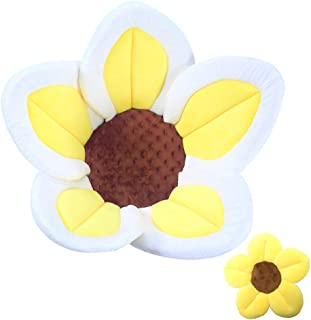 Baby Bath Flower Soft Cushion Non-Slip Safety Sink Insert Tub Creative Play-mat 0-12 Months, Includes Mini Bath Flower Scrubby Toy BPA Free (Baby Yellow)