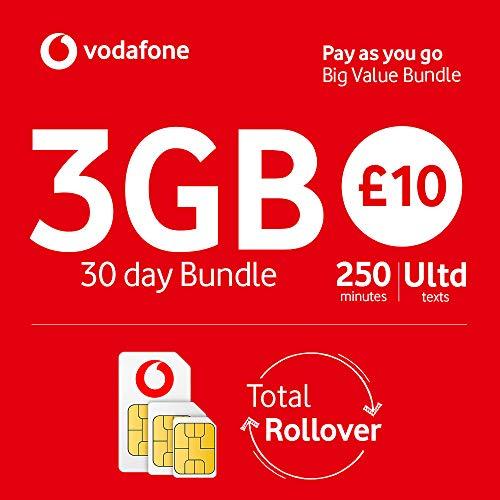 Vodafone Pay As You Go TRI SIM-Karte mit Standard-, Micro- und Nano-Adaptern
