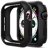 Miimall Funda Compatible con Apple Watch Series 6 / SE / 5/4 de 44 mm, Silicona Case con Diseño de PC Botón [Anticaída] Carcasa para Apple Watch 44 mm - Botón Negro