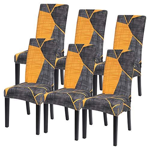 ChicSoleil Fundas para sillas de comedor, juego de 1, 2, 4, 6, fundas elásticas para sillas de comedor, fundas de jacquard extraíble y lavable para comedor, cocina