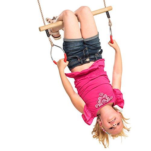 Gartenwelt Riegelsberger Multifunktions Trapez mit Turnringen Hartholztrapez zum Aufhängen Kinderschaukel Spielgerät Turngerät Tüv geprüft