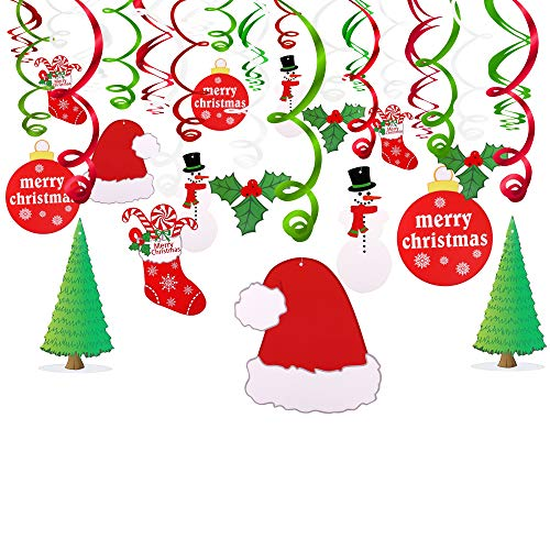 Konsait Christmas Hanging Swirl Decoration Kit(30pcs), Merry Christmas Swirls Garland Foil Hanging Ceiling Decoration for Xmas Winter Wonderland Holiday Party Decor Supplies,Already Assembled