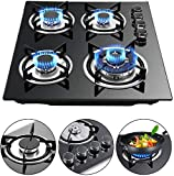 Gdrasuya10 23' Gas Cooktop with 4 Burners Built-in Natural Gas Stove Gas Cook Stove for Multiple Chef Use Iron Tempered Glass Stainless Steel 3300W 2x1750W 1000W