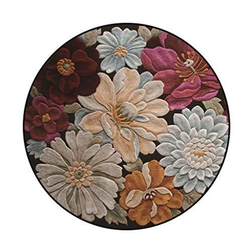 LXESWM Tapis Rond Vintage Motif Fleur Tapis Salon Tapis Décoration Chambre d