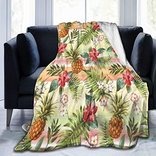 Bernice Winifred Tropical Hawaii Coral Pink Orange Flower Pattern Ultra-Soft Micro Fleece Blanket Hecho de Franela Anti-Pilling, más cómoda y cálida.50x40