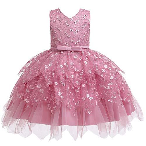 Yanhoo Baby Tochter Prinzessin Kleider Kinder Mädchen Elegante Abendkleid Rüschen Bogen Blumen Spitze Patchwork Tüll Kleid Mit Gürtel Hochzeits Partykleid