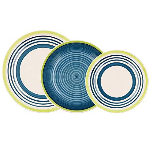 Bidasoa Menorca Vajilla Completa 18 piezas en gres, 6 platos llanos, 6 platos hondos, 6 platos postre
