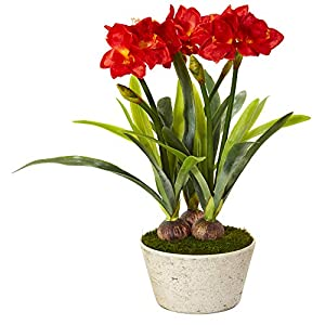 Nearly Natural 32in. Amaryllis Artificial White Planter Silk Plants, Red