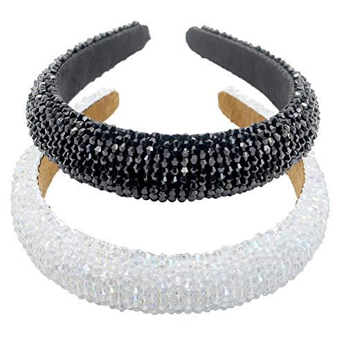 LIXILI Cedas Acolchadas con Cuentas Cristal de Vidrio Adorno de Cristal de Cristal Headband Hair Band Hoop Goth Cabeza de Boda Moda Accesorio para el Cabello,F