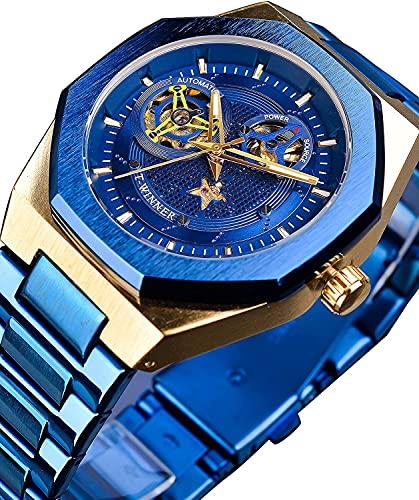 QHG Moda Pentagrama Azul Esqueleto Acero Inoxidable automático analógico Reloj mecánico Militar Irregular Impermeable