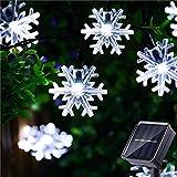 HUGSVIK 30Ft 50 LED Solar Christmas Lights Outdoor, Cold White Solar Snowflake Lights Outdoor, Waterproof Solar Christmas Snowflake Lights Outdoor Decorative for Xmas Tree Garden Yard Patio House