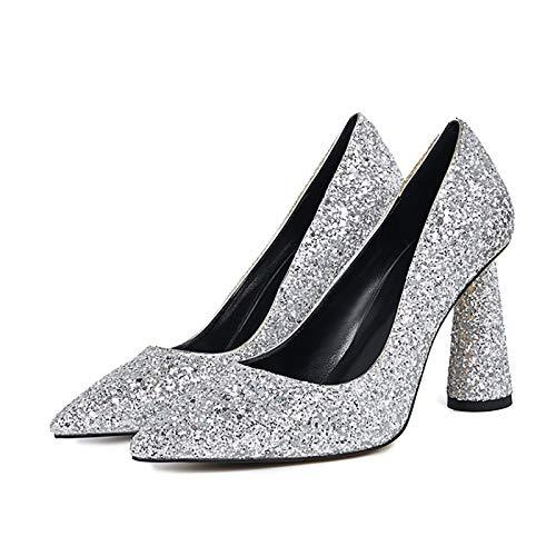 QSMGRBGZ Zapatos de tacón alto para mujer, 9,5 cm, tacón grueso puntiagudo, zapatos de tacón único, sexy para mujer, Asakuchi, zapatos altos para primavera (deslizable), plateados, 42 EU