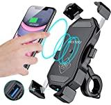 iMESTOU Waterproof Motorcycle Wireless 15W Qi/ USB Quick Charger 3.0 Phone Holder 2 in 1 Mount on 22-32mm Handlebar or Rear-View Mirror Fast Charging for 3.5-6.8 inch Cellphones