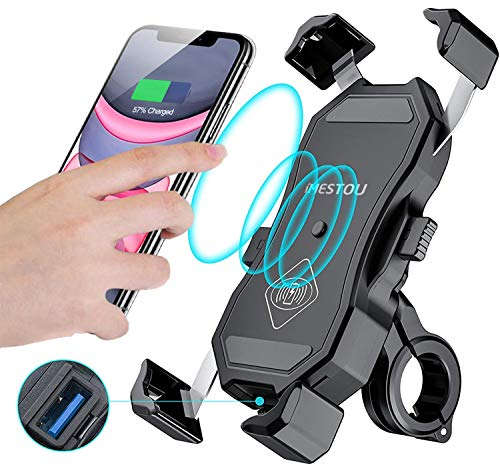 iMESTOU Waterproof Motorcycle Wireless 15W Qi/ USB Quick Charger 3.0 Phone Holder 2 in 1 Mount on 22-32mm Handlebar or Rear-View Mirror Pole Fast Charging for 3.5-6.5 inch Cellphones