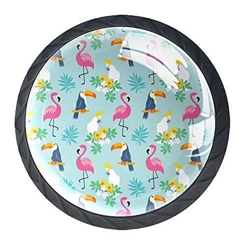Tirador de la perilla del cajón 4 piezas El cajón del gabinete de vidrio de cristal tira las perillas del armario,Flamingo de aves tropicales