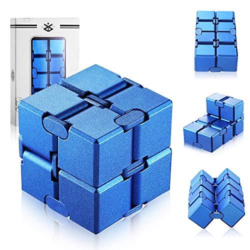 Infinity Cube,Plastico Descompresión de Cubo Mini PVC Finger Handy Infinito Rompecabezas para Niños Adultos Tiempo de Matar AGREGAR TDAH Trastorno de Ansiedad Azul