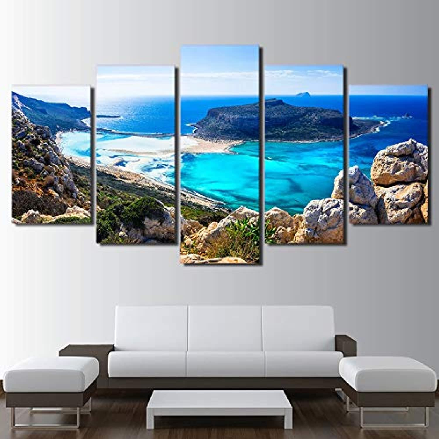 HD Printed for Living Room Picture 5 Panel bluee sea Beach Island Home Decor Framework Canvas Painting Poster