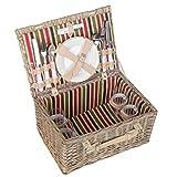 anndora Picknickkorb 4 Personen Weidenkorb Beige mit Zubehör 21 Teilig - rot grün Innenstoff