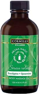 Cornells Wellness, Aroma Magic, Non-Greasy, Stress Relief Massage Oil, Eucalytus + Spearmint, 120 ML, For Unisex