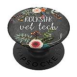 Rockstar Vet Tech - Cute Floral Veterinary...