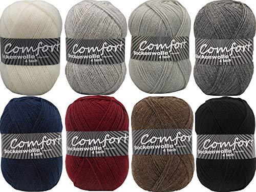 Sockenwolle Strumpfwolle Comfort einfarbig 4-Fach -Best of Unis- 800gr Farbpaket-dezente modische einfarbige Wolle (Grundpreis 5,75/100gr)