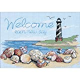 DIMENSIONS 'Welcome Each New Day' Beach Scene Inspirational Counted Cross Stitch Kit, 14 Count Light Blue Aida, 7' x 5'