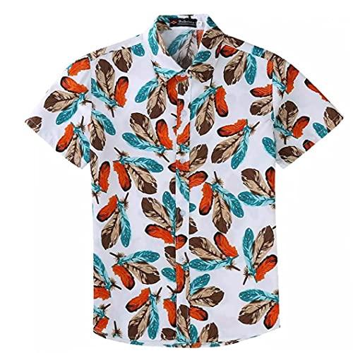 Aiyrchin Herren-Hemd Strand Hemd Hawaii-Hemd Blattdruck beiläufige Paare Spitzenhemd
