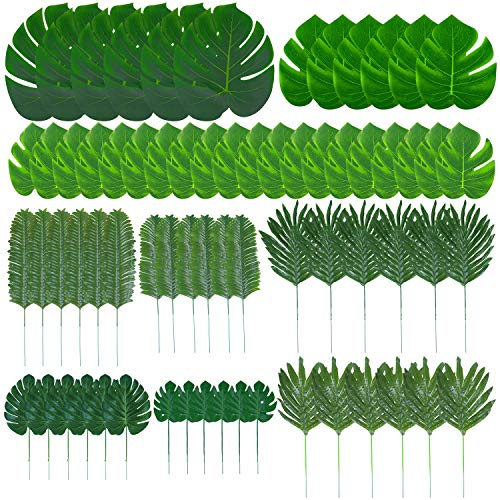 Tupa 68 Pieces 9 Kinds Artificial Palm Leaves Luau Party Decoration Faux Monstera Leaves Stems Tropical Plant Simulation Safari Leaves for Hawaiian Luau Party Jungle Beach Theme Birthday Party