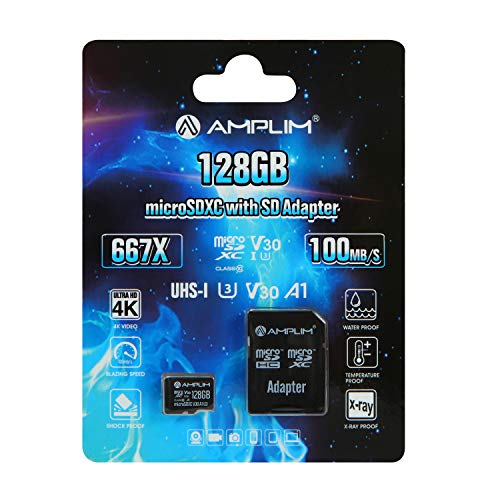 Amplim 128GB Micro SD SDXC Card Plus Adapter - 128 GB microSD Card for Cell Phone, Tablet, Camera, GoPro, Nintendo, Fire, DJI (Extreme 100MB/s 667X V30 A1 Class 10 U3 UHS-I Pro TF microSDXC Memory)