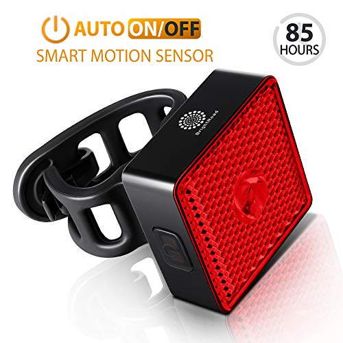 BrightRoad Auto On/Off Rechargeable 40 Lumens Bicycle Tail Light,Smart Led Rear Bike Light with Built-in Reflector, IPX6 Waterproof Back Light for Man,Women and Kids for Safety Cycling, Warning Light