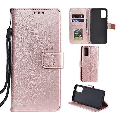 CoverKingz Handyhülle für Xiaomi Mi 10 Lite - Handytasche mit Kartenfach Mi 10 Lite Cover - Handy Hülle klappbar Motiv Mandala Rosegold