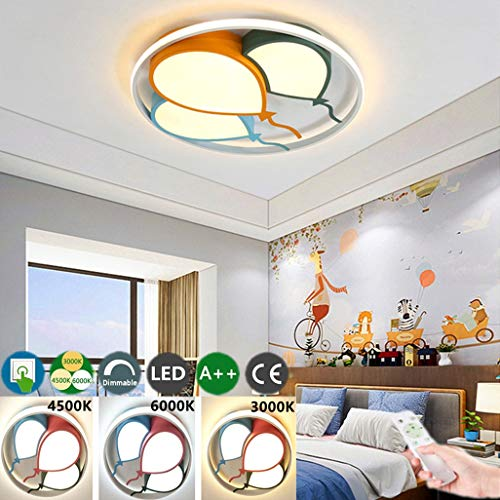 Kinderzimmerlampe LED Deckenleuchte Junge Mädchen Schlafzimmer Deckenlampe Cartoon Baby Lampe Kreative Luftballons Design Decke Licht Dimmbar Mit Fernbedienung 3000K-6000K Deckenbeleuchtung,42cm*48w